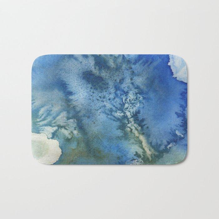 Blue Watercolor Bath Mat