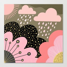 Modern abstract pattern – flowers, clouds and sunshine. Block colors in pink and gold Canvas Print