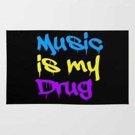 Music Is My Drug Blue, Yello and Purple Rug