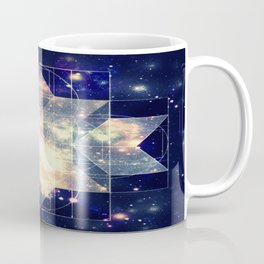 Galaxy Sacred Geometry: Golden Rhombic Hexecontahedron Coffee Mug