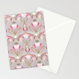 Rose Pink, Grey and Gold Art Deco Stationery Cards