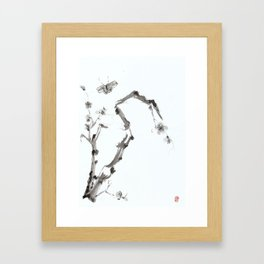 Plum Blossom and Butterfly Framed Art Print