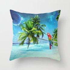 Parrot in the beach Throw Pillow
