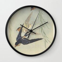 Three birds in full flight - Ohara Koson (1887 - 1945) Wall Clock
