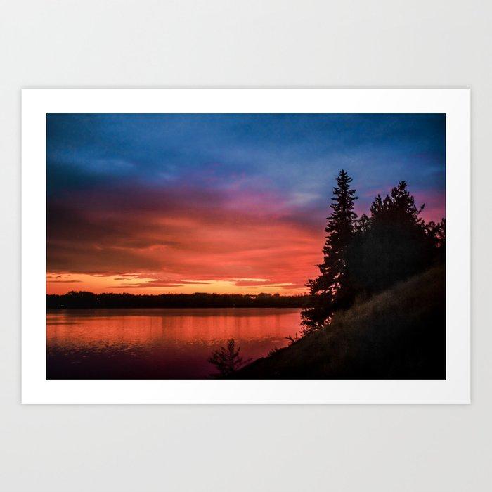 Evening on the river Kunstdrucke