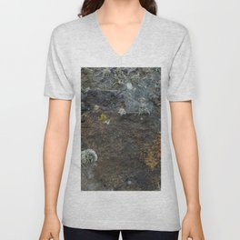 Natural Coastal Rock Texture with Lichen and Moss Unisex V-Neck