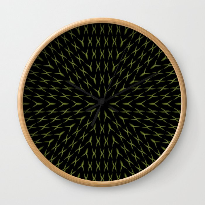 PCT2 Fractal in Yellow on Black Wall Clock