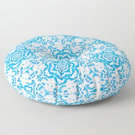 Cream and Blue Floral Geometrical Pattern Floor Pillow