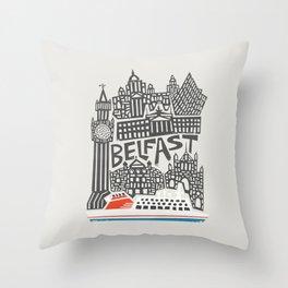Belfast Cityscape Throw Pillow