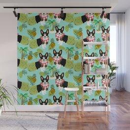 Tri Corgi Hula Grass Skirts Pineapple Tropical Summer Cute tricolored corgi design Wall Mural