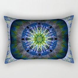 Mandala in Blue and Yellow Rectangular Pillow