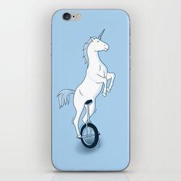 Unicorn on a unicycle - blue iPhone Skin