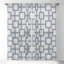 Classic Hollywood Regency Pattern 222 Blue and Gray Sheer Curtain
