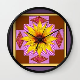 Puce Grey Coffee Brown Ornate Sunflower Art Wall Clock