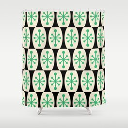 Mid Century Modern Atomic Fusion Pattern 311 Green and Black Shower Curtain