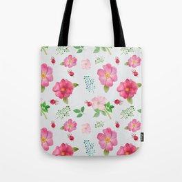 Rosehip Spring Garden Floral Pattern Tote Bag