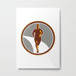 Marathon Runner Front Circle Retro Metal Print