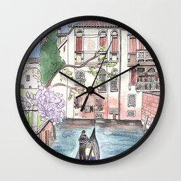 """""""Gondola in Venice"""" Watercolor and Ink Illustration Wall Clock"""