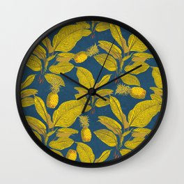 Exotic Pineapple Tropical Banana Palm Leaf Print Wall Clock