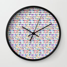 Colorful Neighbors Illustration (White) Wall Clock