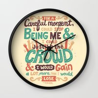 it crowd Wall Clocks featuring Crowd by Risa Rodil