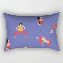 Yoga Girls blue lines Rectangular Pillow