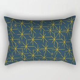 Stella - Atomic Age Mid Century Modern Pattern in Light Mustard Yellow and Navy Blue Rectangular Pillow