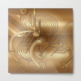 Magical Kokopelli in Bronze Mist Metal Print