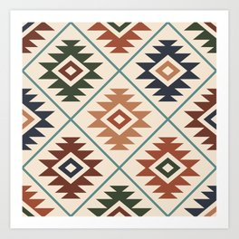 Aztec Symbol Pattern Col Mix Art Print