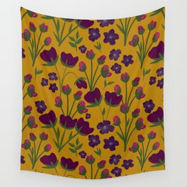 Purple and Gold Floral Seamless Illustration Wall Tapestry
