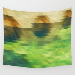 Green yellow triangle pattern, lake Wall Tapestry