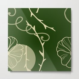 Floral Pattern | Subtle Green on Forest Green Metal Print