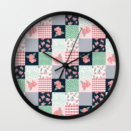 Cheater Quilt basic trendy floral pattern navy pink modern nursery florals cheater quilts Wall Clock
