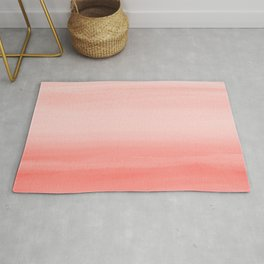 Touching Living Coral Watercolor Abstract #1 #painting #decor #art #society6 Rug