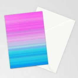 Pink & Aquamarine Blue Stripes Stationery Cards
