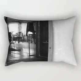 Street Photo - Vacant Home Empty Chairs - Black and White Rectangular Pillow