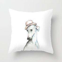 Bowler hat greyhound_ Illustrious dogs. Throw Pillow