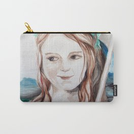 girl with flower and umbrela Carry-All Pouch