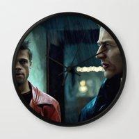 brad pitt Wall Clocks featuring Edward Norton and Brad Pitt by Gabriel T Toro