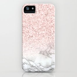 Pretty Rosegold Marble Sparkle iPhone Case