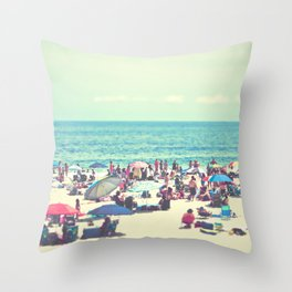 Beach Day on Long Island Throw Pillow