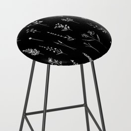 Black wildflowers Bar Stool