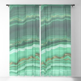 Gold And Malachite Marble Sheer Curtain