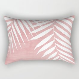 Pink Paint Stroke of Palm Leaves Rectangular Pillow