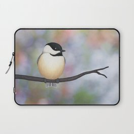 black capped chickadee on a branch Laptop Sleeve