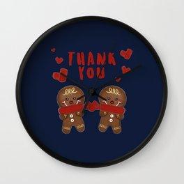Gingerbread Love Thank You - Navy Blue BG Wall Clock