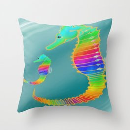 Gemmed Rainbow SeaHorse Throw Pillow