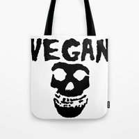misfits Tote Bags featuring vegan misfits by sQuoze