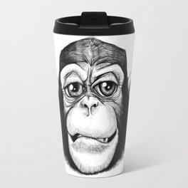 Cheeky baby chimp black and white. Travel Mug