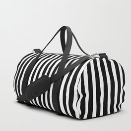 Black and White Vertical Stripes Duffle Bag